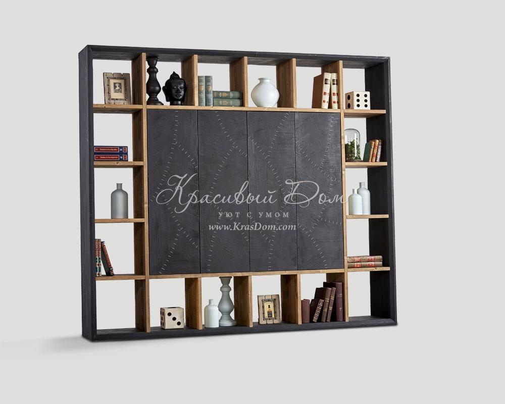 Шкаф книжный - dbn/158. серый шкаф с открытыми полками по пе.