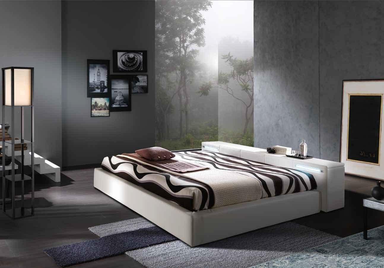 кровать Esp114 белая двуспальная кровать с ящиком в изголовье с
