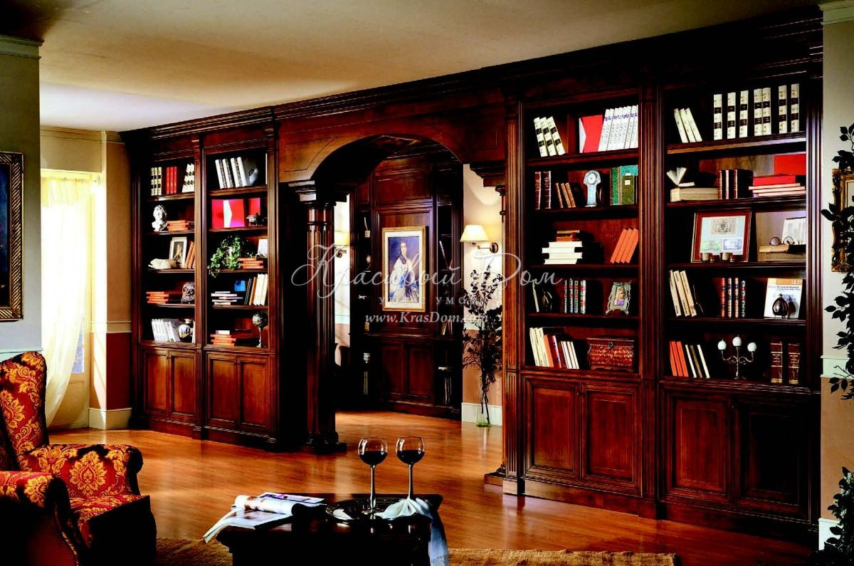 Библиотека - mmrs/0036. классический книжный шкаф со встроен.
