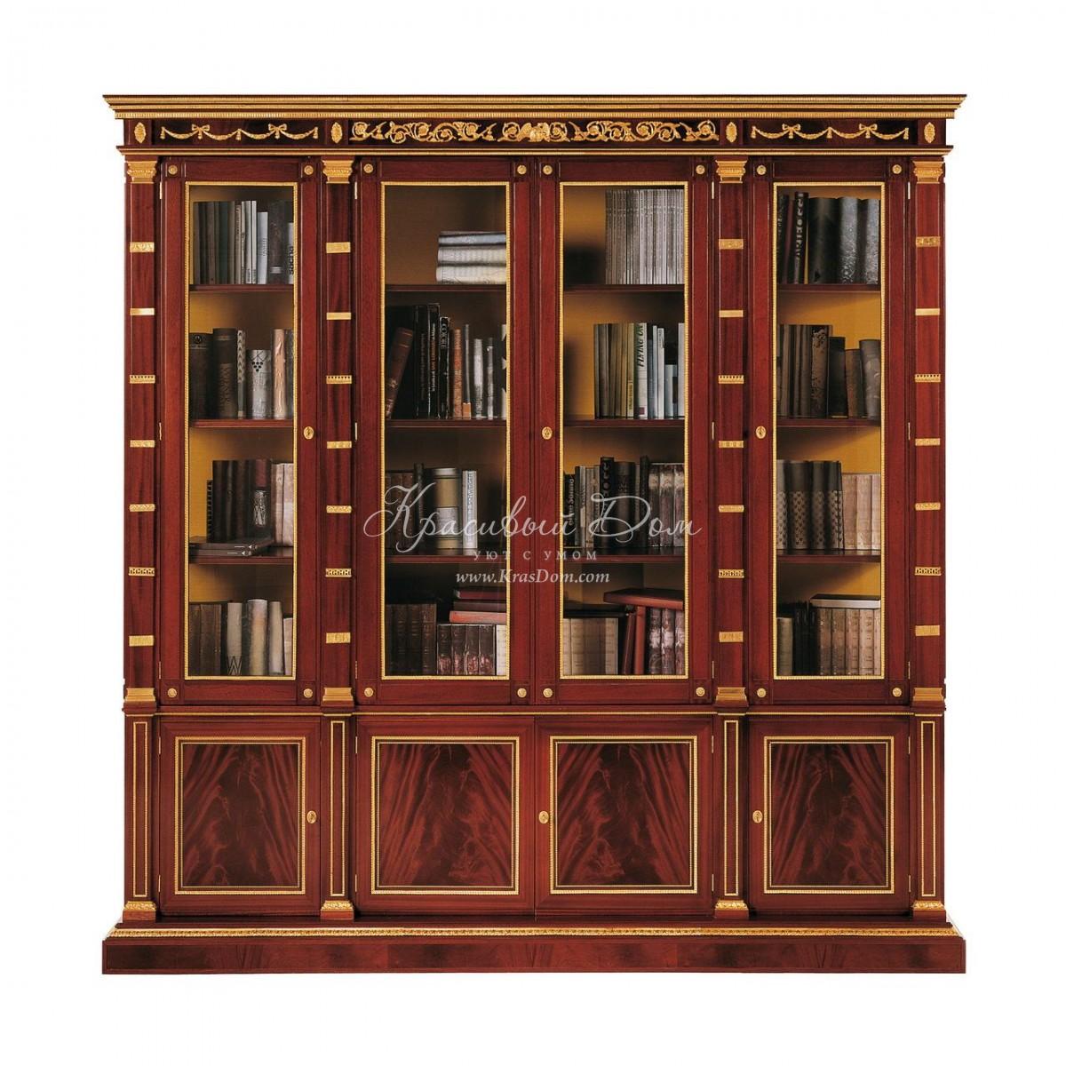 Шкаф книжный - mcst/0305. большой книжный шкаф с фризами и п.