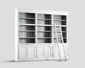 Шкаф книжный - dbn/093. белый 3-секционный шкаф с открытым в.